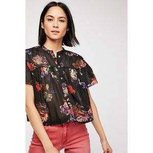 Free People | floral sweet escape button crop top